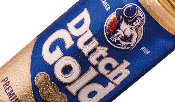 Packaging designed by Mike Ballinger and Adam Gallacher for premium Belgium lager Dutch Gold