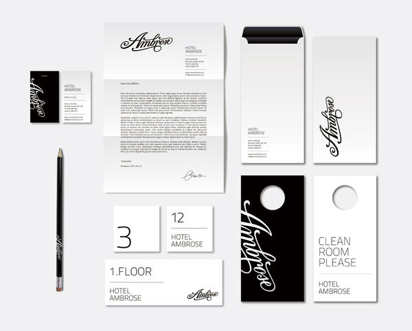 Logotype and stationery designed by Miklos Kiss for Montreal hotel Ambrose