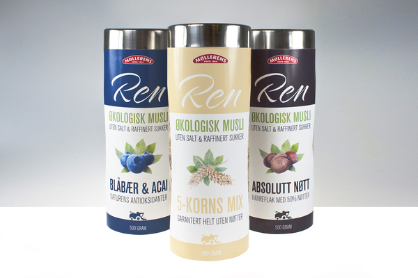 Conceptual packaging designed by Anders Engen, Petter Samuelsen and Marius Holtmon for Mølleren's Ren Musli.