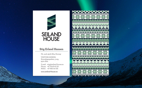 Logo and business card designed by Eirik Gihle for hotel and conference centre Seiland House