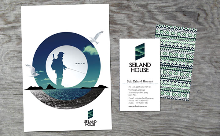 Logo, pattern and print designed by Eirik Gihle for hotel and conference centre Seiland House