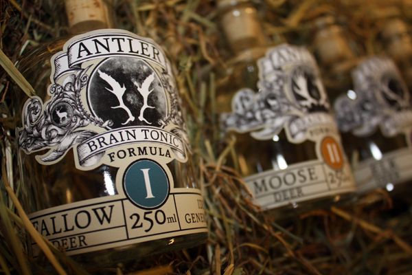 Packaging concept for Antler Brain Tonic designed by illustrator and graphic designer Jack Neville