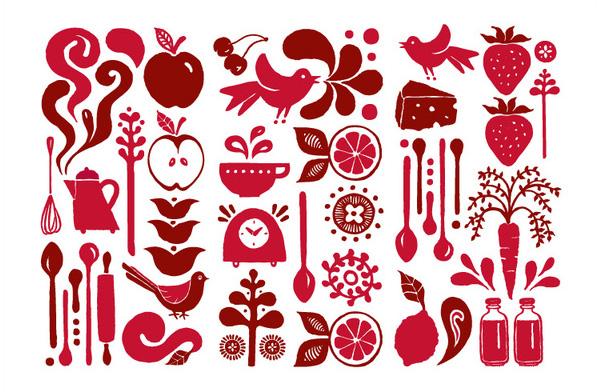 Illustrations designed by Laura Méndez for boutique bakery Des Sens