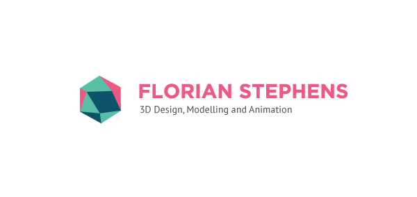 Logo designed by Disengised for high quality 3D visual and animation specialist Florian Stephens
