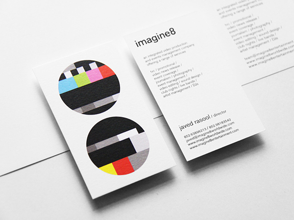 Logo and business card designed by Blow for video production, sound design and DJ management business Imagine8