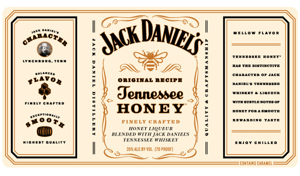 Bottle label designed by Cue Inc for Jack Daniel's whiskey and honey based spirit Tennessee Honey