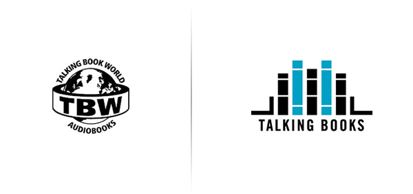 New logo designed by Adrian Walsh for Canadian audio-book retailer Talking Books