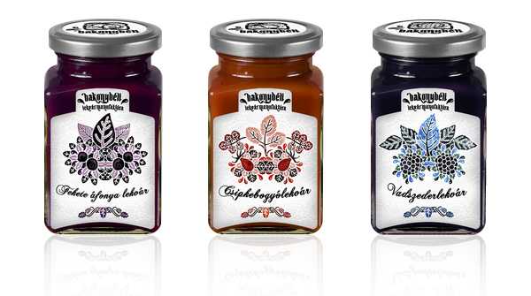 Packaging designed by Dora Novotny for premium Hungarian jam Bakonybéli.