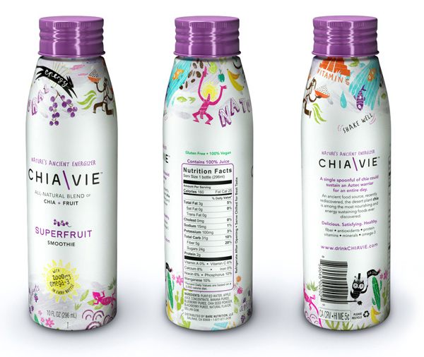 Packaging designed by Miller Creative for fruit and chia seed smoothie brand ChiaVie