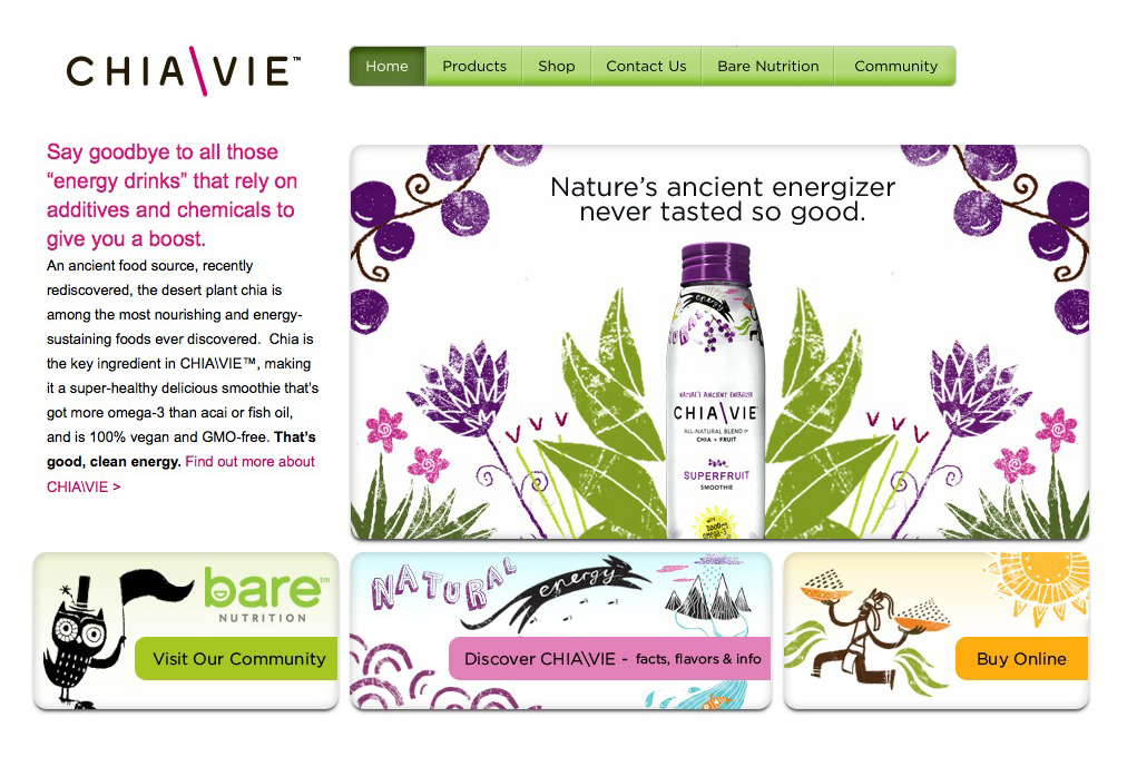 Website designed by Miller Creative for fruit and chia seed smoothie brand ChiaVie