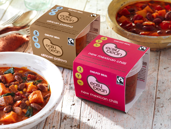 Packaging for British natural convenient food brand Easy Bean Fairtrade