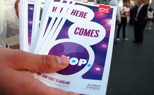 Print created by Designworks for Auckland Transport's electronic card based ticketing solution Hop