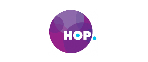 Logo created by Designworks for Auckland Transport's electronic card based ticketing solution Hop