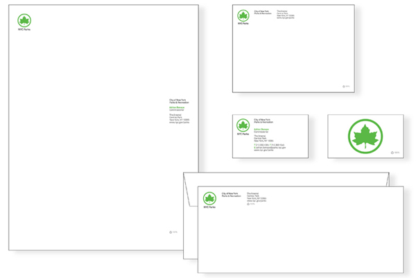 Logo and stationery designed by Pentagram for New York's park land, properties, and attractions