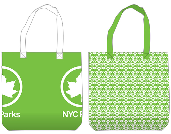 Bags and new logo designed by Pentagram for New York's park land, properties, and attractions