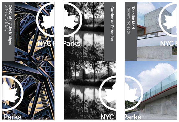 Logo and print designed by Pentagram for New York's park land, properties, and attractions