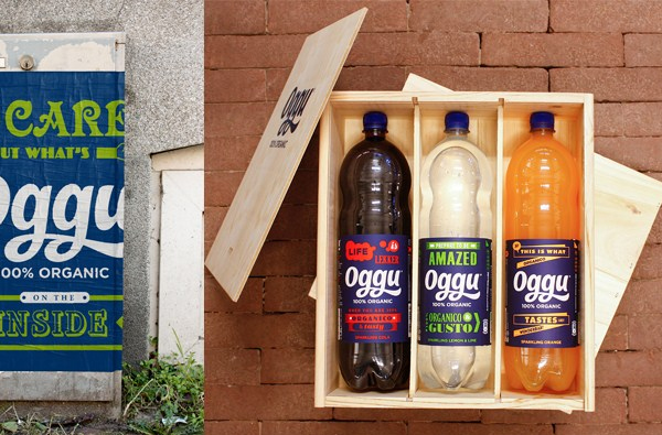 Packaging, logo and brand identity designed by Design Bridge for organic soft drink Oggu