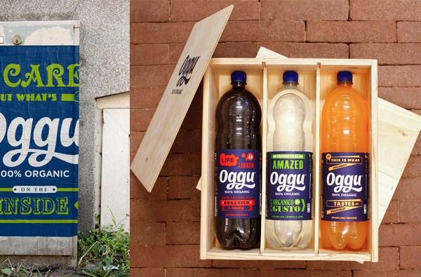 Packaging, logo and brand identity designed by Design Bridge for organic soft drink Oggu