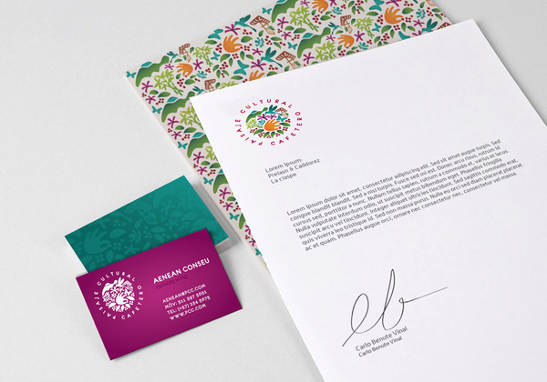 Logo and stationery designed by Jaime Cadavid for Colombian coffee growing organisation Paisaje Cultural Cafetero
