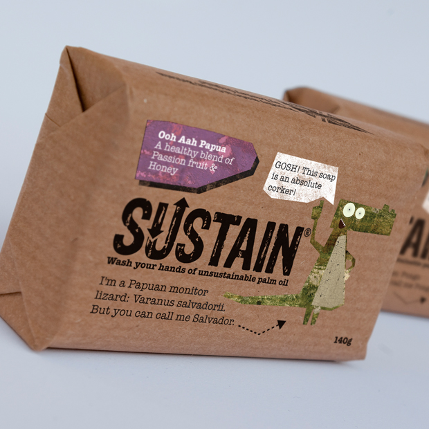 Packaging designed by Simon Inman featuring copy from Chris Miller for sustainable palm oil soap brand Sustain