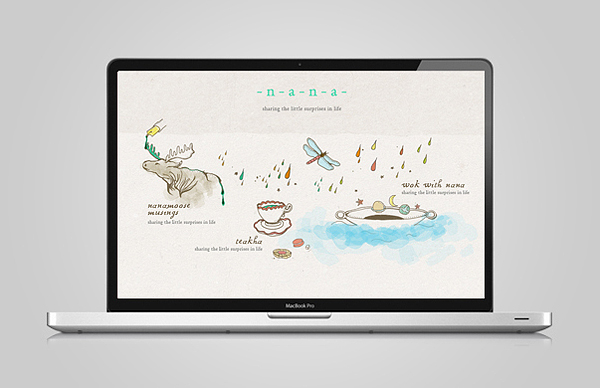 Illustrated website by Gardens & Co. for travel junkie and food writer Nana Chan