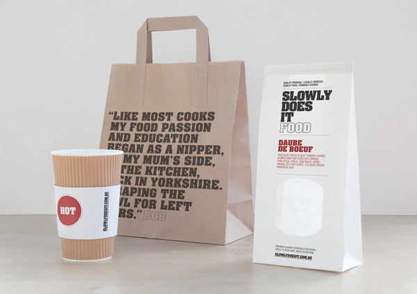 Packaging designed by Berg for home-style food delivery service Slowly Does It Food