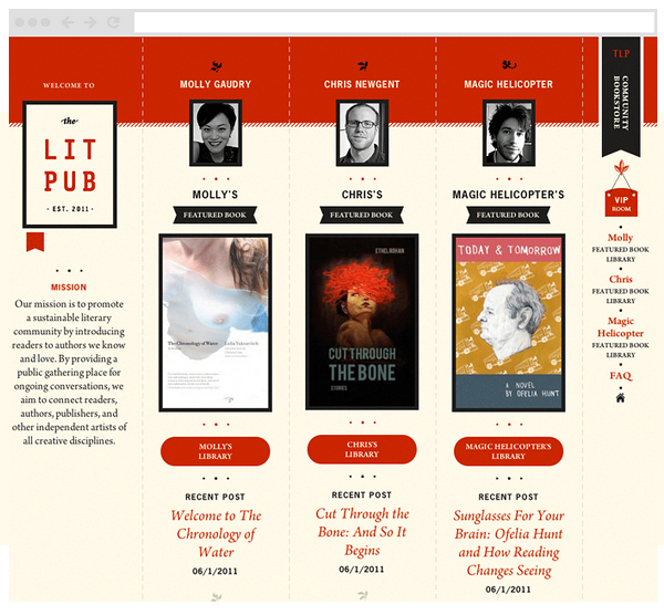Visual identity and website designed by Fuzzco for on-line publisher of independent authors The Lit Pub