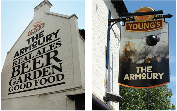 Logo design and collateral by Purpose for London pub The Armoury