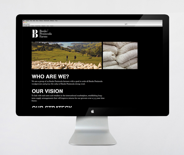 Logo, stencil cut typeface and website designed by Strategy for Banks Peninsula Farms