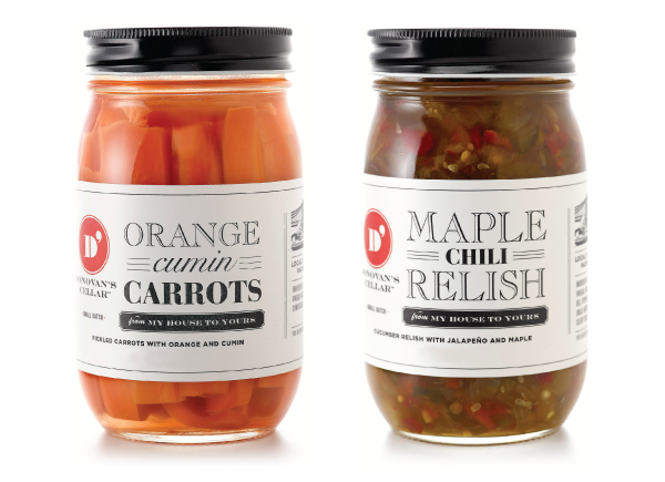 Packaging with a mixed typographical approach designed by United* for artisan condiment and pickle brand Donovan's Cellar
