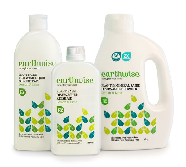 Packaging by BRR for ecologically considerate household laundry and skincare range Earthwise