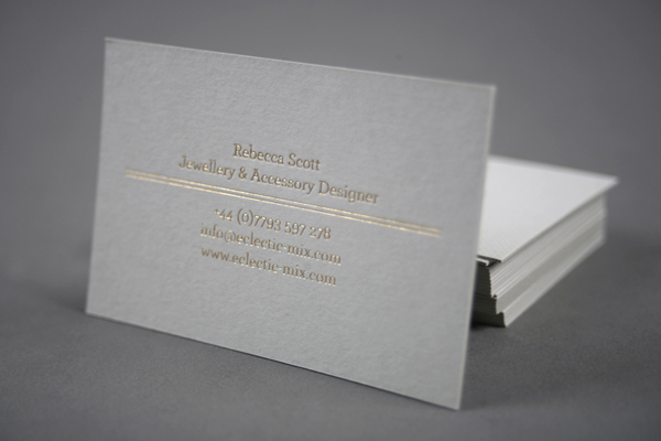 Business card with gold foil detail by Because Studio for fashion accessory label Eclectic-Mix