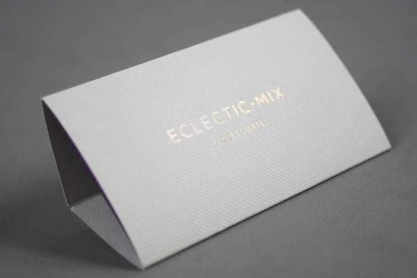 Print with embossed surface and gold foil detail by Because Studio for fashion accessory label Eclectic-Mix