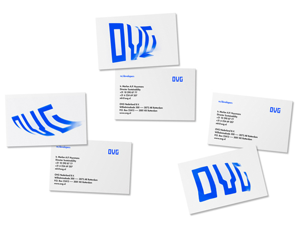 Logo and business card designed by Studio Dumbar for development, redevelopment and restoration firm OVG