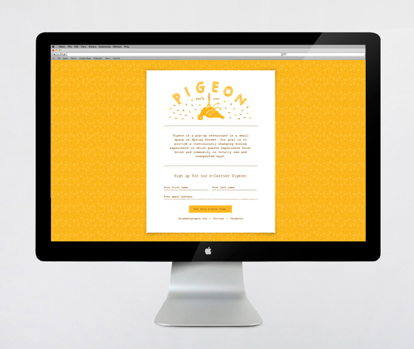 Logo and website designed by Fuzzco for South Carolina pop-up eatery Pigeon