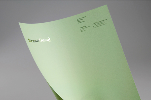 Logo and stationery with block foil print finish designed by Six for brand innovation and technology consultancy Brandfluent
