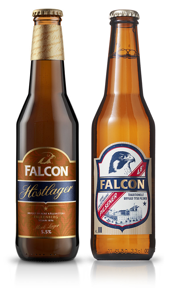 Packaging design by Nine for Swedish pilsner Falcon
