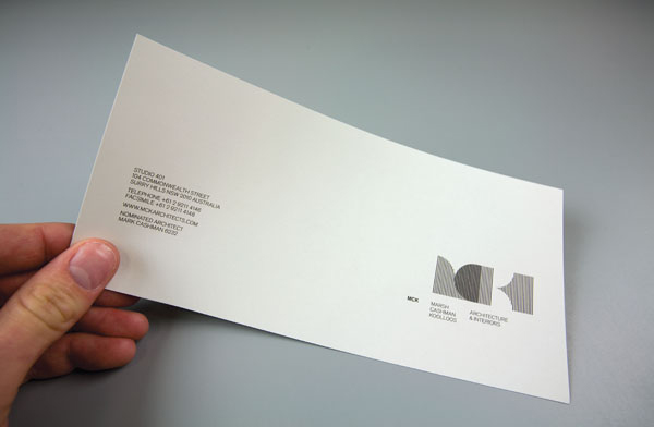 Logo and compliment slip designed by There for Sydney based architectural firm MCK