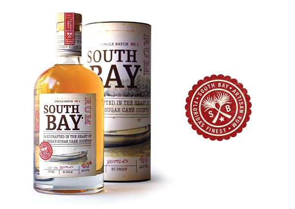 Packaging by Edmundson Martin for handcrafted, micro-distilled, single batch premium rum South Bay