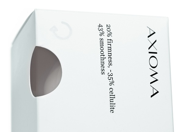Packaging with die cut window for high quality and active skincare brand Axioma designed by Anagrama