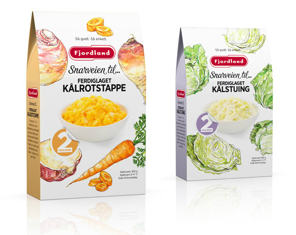 Packaging with hand drawn illustrative detail designed by Strømme Throndsen Design for Fjordland's ready meal and desert range Snarveien till