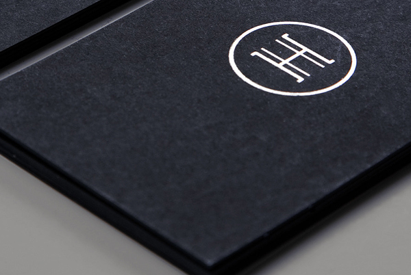 Logo and business card with black board and silver foil detail designed by Glasfurd & Walker for bespoke jewellery design and production studio Hume Atelier
