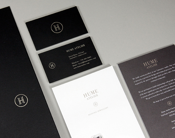 Logo and stationery with black board and silver foil detail designed by Glasfurd & Walker for bespoke jewellery design and production studio Hume Atelier