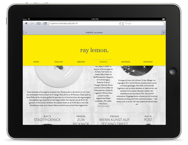 Website work by Leib Und Seele for Heilbronn based bar Ray Lemon's monthly event Menu in Yellow