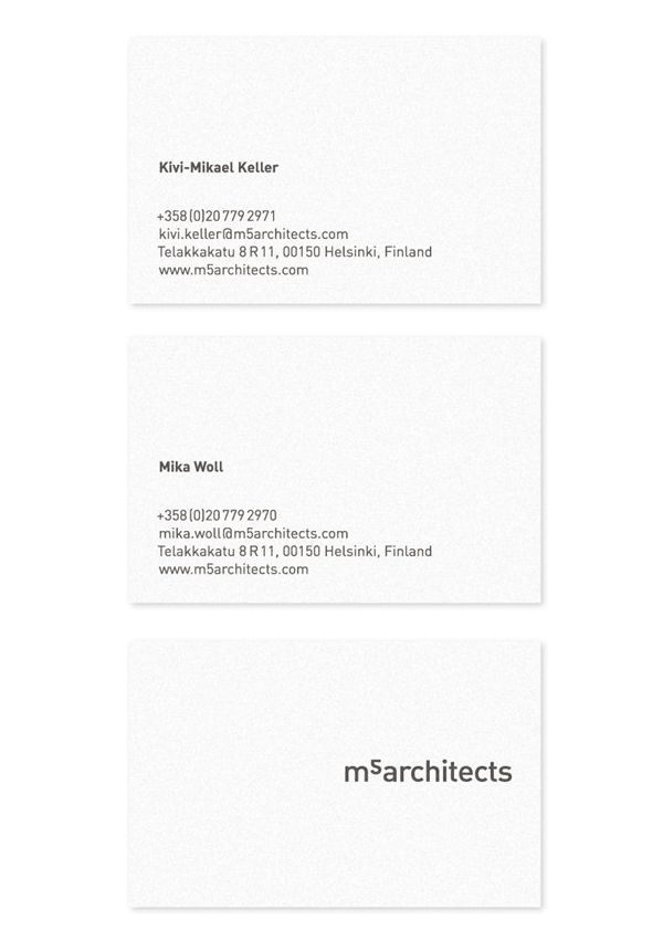 Logo and business cards for Helsinki based architectural, urban planning and furniture design studio M5