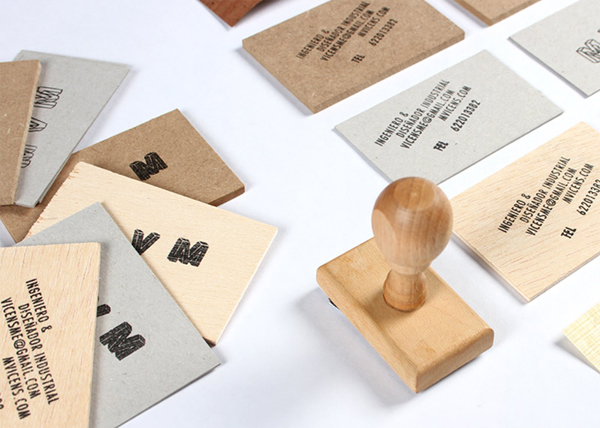 Logo and hand stamped wood and board business cards created by Josep Barri engineer and industrial designer Marc Vicens Mesquida