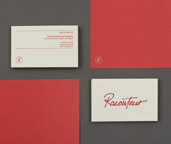 Logo and stationery created by Christian Bielke for web production and advertising company Raconteur
