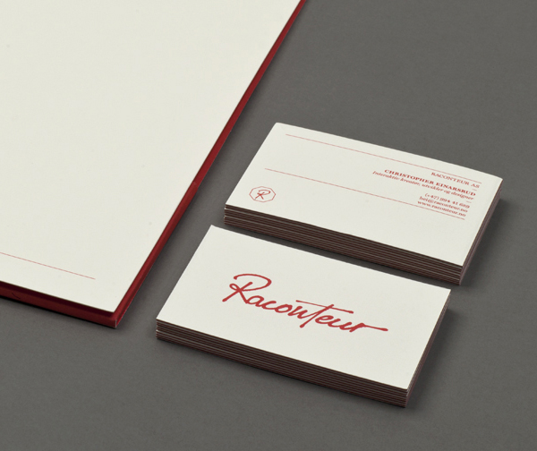 Script logotype and edge painted stationery created by Christian Bielke for web production and advertising company Raconteur