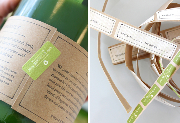 Packaging with sticker and unbleached paper details created by Stitch for soy wax candle brand Rewined