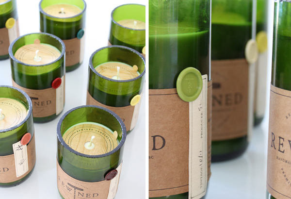 Packaging with wax seal, wood, sticker and unbleached paper details created by Stitch for soy wax candle brand Rewined